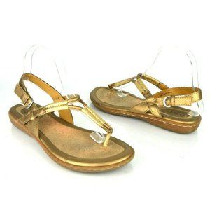 Born BOC sz 9 Bronze Braided T Strap Thong Sandal